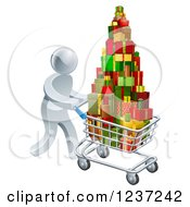 Clipart Of A 3d Silver Man Pushing A Shopping Cart Full Of Presents Royalty Free Vector Illustration
