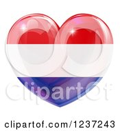 Clipart Of A 3d Reflective Netherlands Flag Heart Royalty Free Vector Illustration