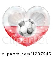 Clipart Of A 3d Polish Flag Heart And Soccer Ball Royalty Free Vector Illustration