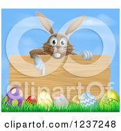 Brown Bunny Pointing Down To A Wood Sign With Grass And Easter Eggs Against Blue Sky