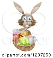 Clipart Of A Happy Brown Bunny With Easter Eggs And A Basket Royalty Free Vector Illustration