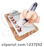 Clipart Of A Hand Filling Out A Satisfaction Survey On A Clipboard Royalty Free Vector Illustration by AtStockIllustration