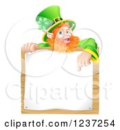 Clipart Of A St Patricks Day Leprechaun Pointing Down To A Notice On A Wooden Sign Royalty Free Vector Illustration