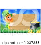 Clipart Of A St Patricks Day Leprechaun Pointing To A Wood Sign With Grass A Pot Of Gold And Blue Sky Royalty Free Vector Illustration by AtStockIllustration