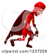 Clipart Of A 3d Red Male Super Hero Pouting In Defeat Royalty Free Illustration