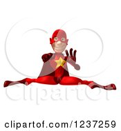 Clipart Of A 3d Red Male Super Hero Punching Jumping And Doing The Splits Royalty Free Illustration