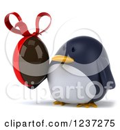 Clipart Of A 3d Penguin Holding A Chocolate Easter Egg Royalty Free Illustration