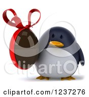 Clipart Of A 3d Penguin Holding A Chocolate Easter Egg 2 Royalty Free Illustration