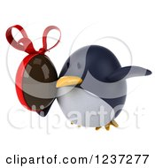 Clipart Of A 3d Penguin Flying With A Chocolate Easter Egg Royalty Free Illustration