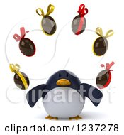 Clipart Of A 3d Penguin Juggling Chocolate Easter Eggs Royalty Free Illustration