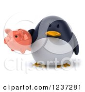 Clipart Of A 3d Penguin Holding A Piggy Bank Royalty Free Illustration