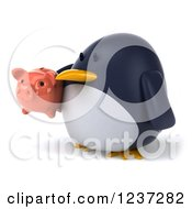 Clipart Of A 3d Penguin Holding A Piggy Bank 2 Royalty Free Illustration
