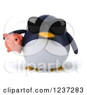 Clipart Of A 3d Penguin Holding A Piggy Bank And Wearing Sunglasses Royalty Free Illustration