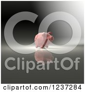 Clipart Of A 3d Pink Geometrick Piggy Bank On A Reflective Background 2 Royalty Free Illustration