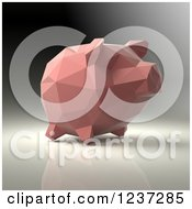 Clipart Of A 3d Pink Geometrick Piggy Bank On A Reflective Background 3 Royalty Free Illustration
