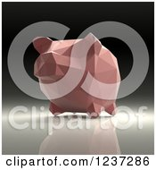 Clipart Of A 3d Pink Geometrick Piggy Bank On A Reflective Background 4 Royalty Free Illustration