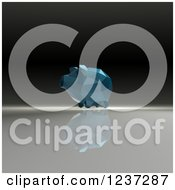 Clipart Of A 3d Blue Geometrick Piggy Bank On A Reflective Background Royalty Free Illustration