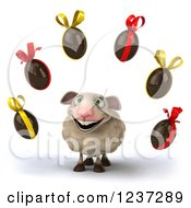 Clipart Of A 3d Happy Sheep And Floating Chocolate Easter Eggs Royalty Free Illustration