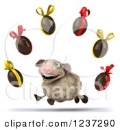 Clipart Of A 3d Happy Running Sheep And Floating Chocolate Easter Eggs Royalty Free Illustration