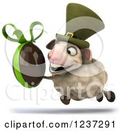 Clipart Of A 3d Irish Sheep Running With A Dark Chocolate Easter Egg Royalty Free Illustration