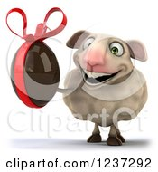 Clipart Of A 3d Happy Sheep Holding A Dark Chocolate Easter Egg Royalty Free Illustration