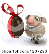 Clipart Of A 3d Happy Sheep Holding A Dark Chocolate Easter Egg 2 Royalty Free Illustration