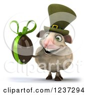 Clipart Of A 3d Irish Sheep Holding A Dark Chocolate Easter Egg Royalty Free Illustration