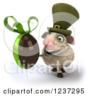 Clipart Of A 3d Irish Sheep Holding A Dark Chocolate Easter Egg 2 Royalty Free Illustration
