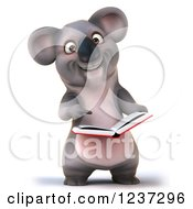 Clipart Of A 3d Koala Reading A Book 2 Royalty Free Illustration