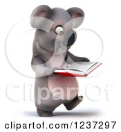 Clipart Of A 3d Koala Walking And Reading A Book Royalty Free Illustration