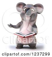 Clipart Of A 3d Koala Reading A Book Royalty Free Illustration