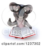 Clipart Of A 3d Bespectacled Koala Holding A Thumb Up And Reading A Book Royalty Free Illustration