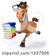 3d Bespectacled Horse Librarian Running With A Stack Of Books 2