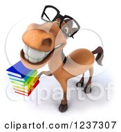 3d Bespectacled Horse Librarian Holding A Stack Of Books 3