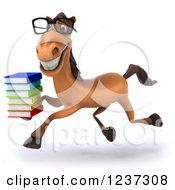 3d Bespectacled Horse Librarian Running With A Stack Of Books