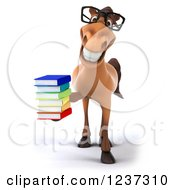 3d Bespectacled Horse Librarian Holding A Stack Of Books