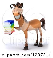 3d Bespectacled Horse Librarian Holding A Stack Of Books 2