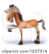 Clipart Of A 3d Bespectacled Horse Reading A Book 2 Royalty Free Illustration