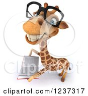 Clipart Of A 3d Bespectacled Giraffe Smiling And Reading A Book Royalty Free Illustration by Julos