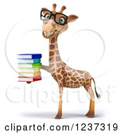 3d Bespectacled Giraffe With A Stack Of Books