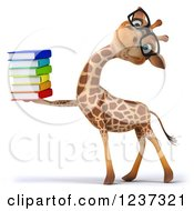 3d Bespectacled Giraffe With A Stack Of Books 3