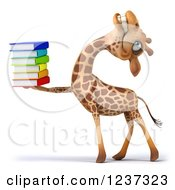 3d Giraffe Laughing And Carrying A Stack Of Books