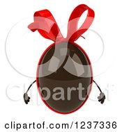 Clipart Of A 3d Chocolate Easter Egg With A Red Bow Royalty Free Illustration