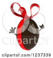 Clipart Of A 3d Jumping Chocolate Easter Egg With A Red Bow Royalty Free Illustration