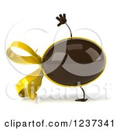 Clipart Of A 3d Cartwheeling Chocolate Easter Egg With A Yellow Bow Royalty Free Illustration