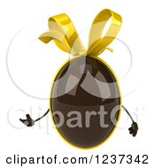 Clipart Of A 3d Presenting Chocolate Easter Egg With A Yellow Bow Royalty Free Illustration