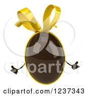 Clipart Of A 3d Shrugging Chocolate Easter Egg With A Yellow Bow Royalty Free Illustration