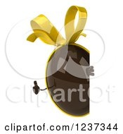 Clipart Of A 3d Chocolate Easter Egg With A Yellow Bow Holding A Thumb Up Around A Sign Royalty Free Illustration