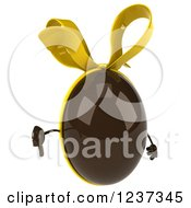 Clipart Of A 3d Chocolate Easter Egg With A Yellow Bow Holding A Thumb Down Royalty Free Illustration