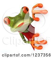 3d Female Springer Frog Looking Around A Sign